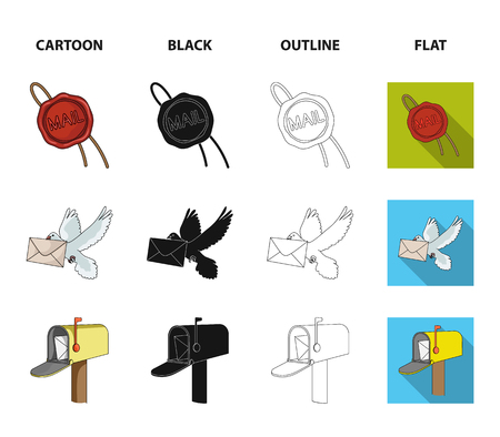 Wax seal, postal pigeon with envelope, mail box and parcel.Mail and postman set collection icons in cartoon,black,outline,flat style vector symbol stock illustration web.