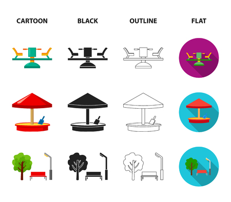 Carousel, sandbox, park and tricycle. Playground set collection icons in cartoon,black,outline,flat style vector symbol stock illustration web. Illustration