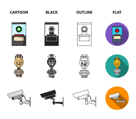 A diamond, a vase on a stand, a surveillance camera, an African mask. Museum set collection icons in cartoon, black,outline, flat style vector symbol stock illustration web.