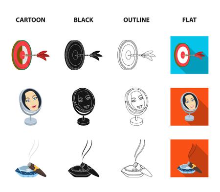 Game Darts, reflection in the mirror and other web icon in icons in cartoon, black, outline, flat style vector symbol stock illustration web. Cigar calipers icons in set collection. Illustration