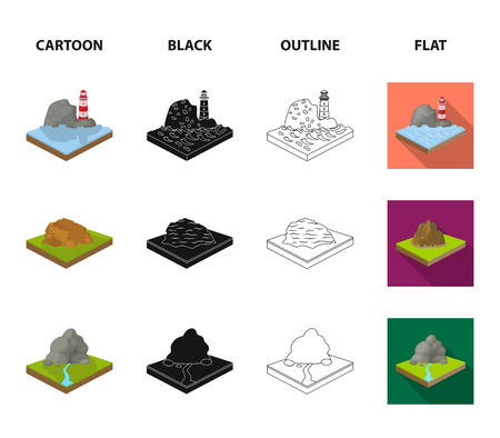 Mountains, rocks and landscape. Relief and mountains set collection icons in icons in cartoon, black, outline, flat style vector symbol stock illustration web. Illusztráció