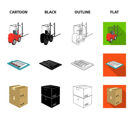 Forklift, delivery slips, packaged goods, cargo on weighing scales. Logistics and delivery set collection icons in icons in cartoon, black, outline, flat style vector symbol stock illustration web.