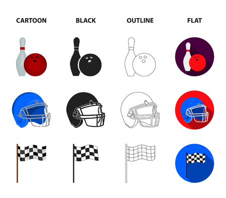 Bowl and bowling pin for bowling, protective helmet for playing baseball, checkbox, referee, whistle for coach or referee. Sport set collection icons in icons in cartoon, black, outline, flat style vector symbol stock illustration web. Illustration