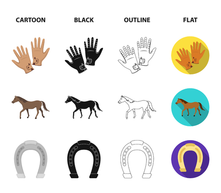 Hippodrome and horse set collection icons in icons in cartoon, black, outline, flat style vector symbol stock illustration web.