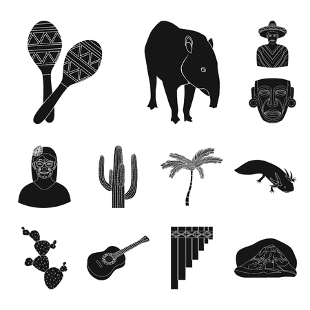 Country Mexico black icons in set collection for design. Mexico and landmark vector symbol stock web illustration.