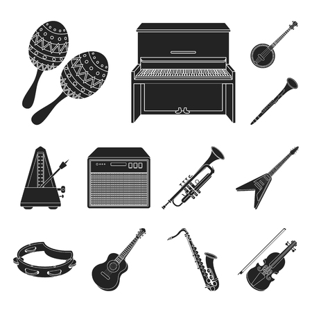 Musical instrument black icons in set collection for design. String and Wind instrument vector symbol stock web illustration.