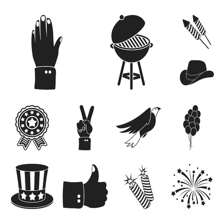 Day of Patriot, holiday black icons in set collection for design. American tradition vector symbol stock web illustration.