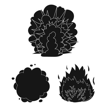 Different explosions black icons in set collection for design.Flash and flame vector symbol stock  illustration. Иллюстрация