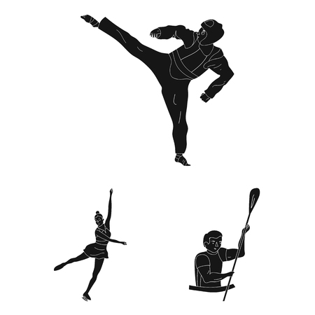 Different kinds of sports black icons in set collection for design. Athlete, competitions vector symbol stock  illustration. Illustration