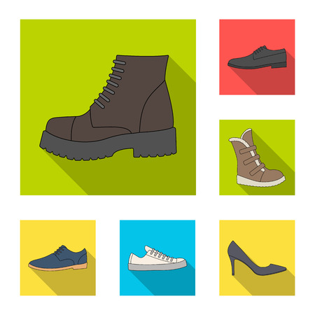 Different shoes flat icons in set collection for design. Men and women shoes vector symbol stock web illustration.