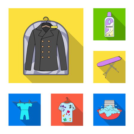 Dry cleaning equipment flat icons in set collection for design. Washing and ironing clothes vector symbol stock web illustration. Stock Illustratie