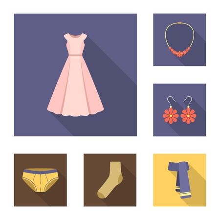 Vêtements et accessoires icônes plates dans collection collection pour la conception. chaussures et des symboles vecteur de décoration. élément de design eps Banque d'images - 99479961