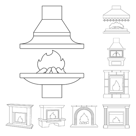 Different kinds of fireplaces outline icons in set collection for design.Fireplaces construction vector symbol stock web illustration. Illustration