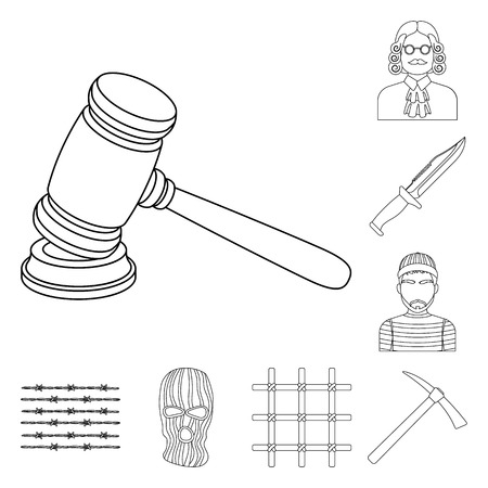 Prison and the criminaloutline icons in set collection for design.Prison and Attributes vector symbol stock  illustration. Çizim