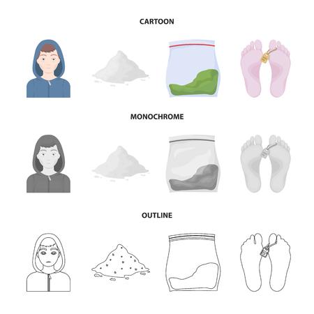 Addict, cocaine, marijuana, corpse. Drug set collection icons in cartoon, outline, monochrome style vector symbol stock illustration.