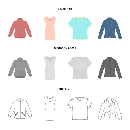 A mans jacket, a tunic, a t-shirt, a business suit. Clothes set collection icons in cartoon, outline, monochrome style vector symbol stock illustration web. Ilustrace