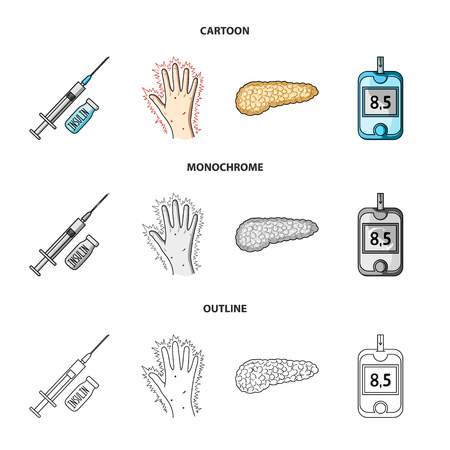 Syringe with insulin, pancreas, glucometer, hand diabetic. Diabet set collection icons in cartoon,outline,monochrome style vector symbol stock illustration web.
