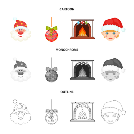 Santa Claus, dwarf, fireplace and decoration cartoon,outline,monochrome icons in set collection for design. Christmas vector symbol stock web illustration.