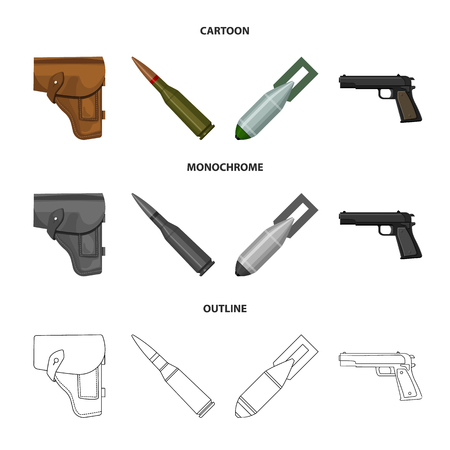 Holster, cartridge, air bomb, pistol. Military and army set collection icons in cartoon,outline,monochrome style vector symbol stock illustration web. Ilustração