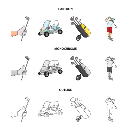 A gloved hand with a stick, a golf cart, a trolley bag with sticks in a bag, a man hammering with a stick. Golf Club set collection icons in cartoon,outline,monochrome style vector symbol stock illust