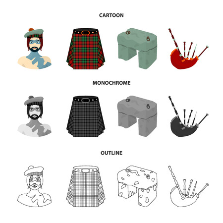 Highlander, Scottish Viking, tartan, kilt, Scottish skirt, scone stone, national musical instrument of bagpipes. Scotland set collection icons in cartoon, outline, monochrome style vector symbol stock illustration web.
