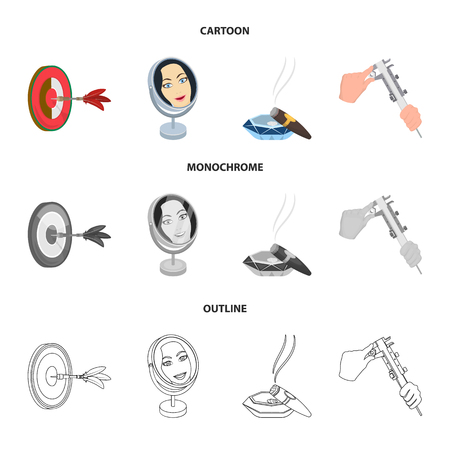 Game Darts, reflection and other icon in cartoon,outline,monochrome style. Cigar , calipers icons in set collection.