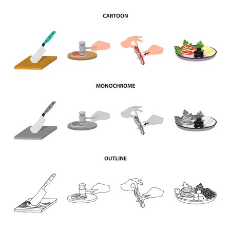 Cutlass on a cutting board, hammer for chops, cooking bacon, eating fish and vegetables. Eating and cooking set collection icons in cartoon, outline, monochrome style vector symbol stock illustration web. Illustration