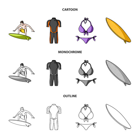 Surfer, wetsuit, bikini, surfboard. Surfing set collection icons in cartoon,outline,monochrome style vector symbol stock illustration . Illustration