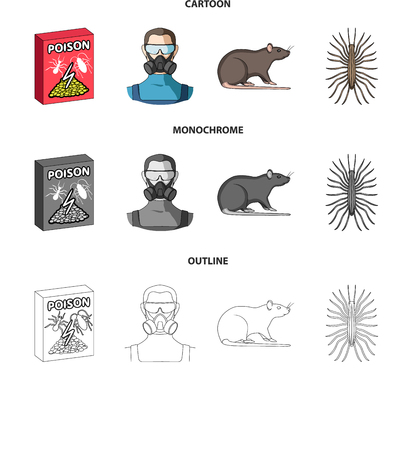 Staff, packing with poison and pests cartoon,outline,monochrome icons in set collection for design.Pest Control Service vector symbol stock  illustration.