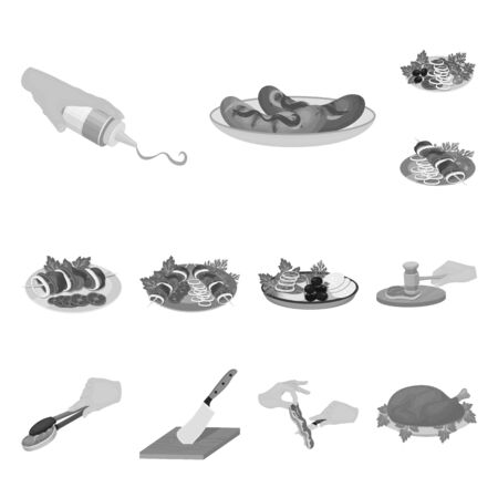 Cooking food monochrome icons in set collection for design. Kitchen, equipment and tools vector symbol stock  illustration.