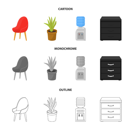 A red chair with a comfortable back, an aloe flower in a pot, an apparatus with clean water, a cabinet for office papers. Office Furniture set collection icons in cartoon,outline,monochrome style vector symbol stock illustration . 向量圖像