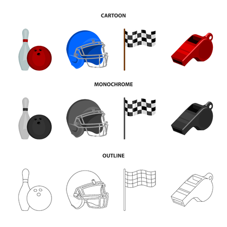 Bowl and bowling pin for bowling, protective helmet for playing baseball, checkbox, referee, whistle for coach or referee. Sport set collection icons in cartoon,outline,monochrome style vector symbol stock illustration web. Illustration