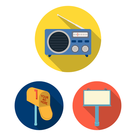 Production of advertising flat icons in set collection for design. Advertising equipment vector symbol stock web illustration. Illustration