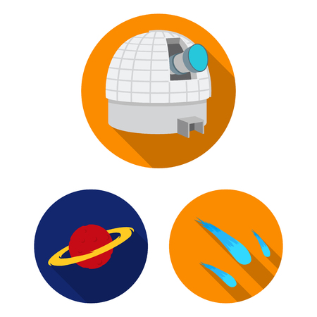 Space technology flat icons in set collection for design.Spacecraft and equipment vector symbol stock  illustration.