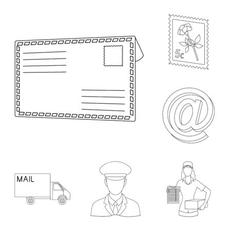 Mail and postman outline icons in set collection for design. Mail and equipment vector symbol stock web illustration. Ilustração