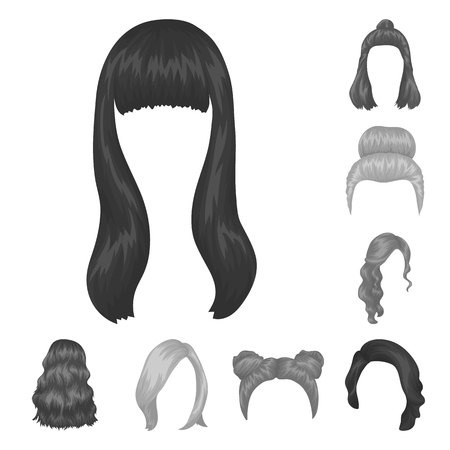 Female hairstyle monochrome icons in set collection for design. Stylish haircut vector symbol stock  illustration. Фото со стока - 99547653