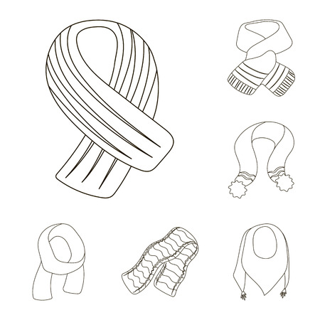 Scarf and Shawl outline icons in set collection for design.Clothes and Accessory vector symbol stock  illustration. Иллюстрация