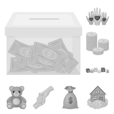 Charity and donation monochrome icons in set collection for design. Material aid vector symbol stock  illustration.