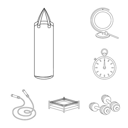 Boxing extreme sports outline icons in set collection for design. Boxer and attributes vector symbol stock  illustration. Stock Illustratie