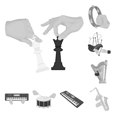 Manipulation by hands monochrome icons in set collection for design. Hand movement vector symbol stock  illustration. Illustration