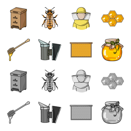 A frame with honeycombs, a ladle of honey, a fumigator from bees, a jar of honey.Apiary set collection icons in cartoon,monochrome style vector symbol stock illustration .