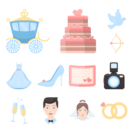 Wedding and Attributes cartoon icons in set collection for design.Newlyweds and Accessories vector symbol stock  illustration. Illustration