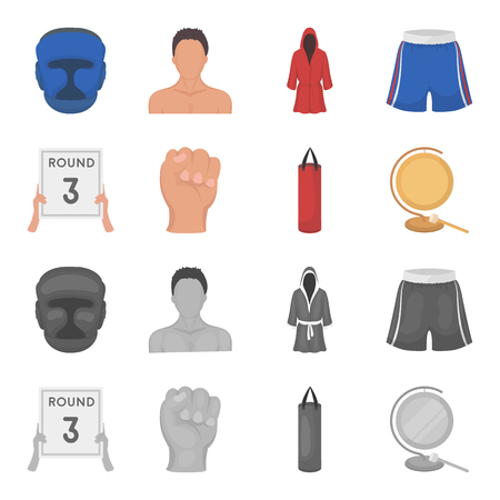 Boxing, sport, round, hand. Boxing set collection icons in cartoon,monochrome style vector symbol stock illustration web.
