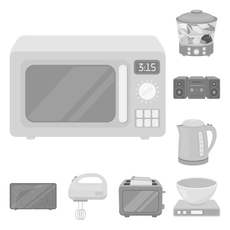 Types of household appliances monochrome icons in set collection for design.Kitchen equipment vector symbol stock  illustration.