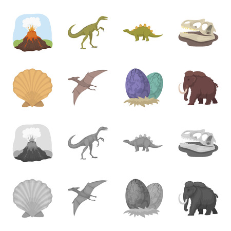 Prehistoric shell, dinosaur eggs,pterodactyl, mammoth. Dinosaur and prehistoric period set collection icons in cartoon,monochrome style vector symbol stock illustration .