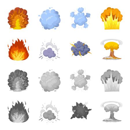 炎、火花、水素断片、原子またはガス爆発。爆発は、漫画、モノクロスタイルベクトルシンボルストックイラストでコレクションアイコンを設定し