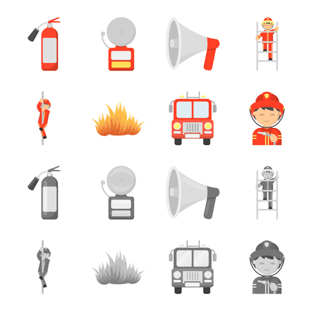 Fireman, flame, fire truck. Fire departmentset set collection icons in cartoon,monochrome style vector symbol stock illustration .