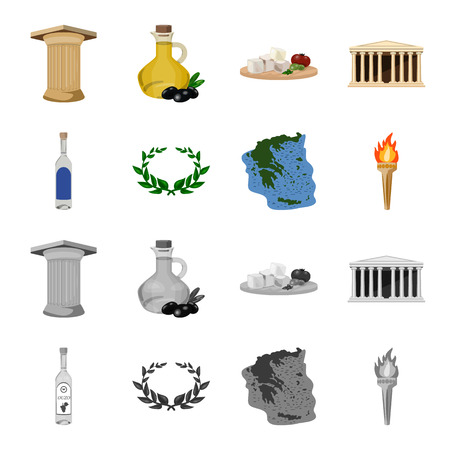 Greece, country, tradition, landmark .Greece set collection icons in cartoon,monochrome style vector symbol stock illustration .