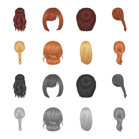 Light braid, fish tail and other types of hairstyles. Back hairstyle set collection icons in cartoon,monochrome style vector symbol stock illustration . Illustration