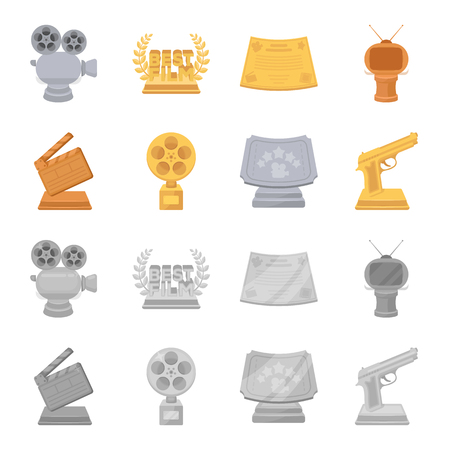 Gold pistol, silver prize for the best supporting role and other prizes.Movie awards set collection icons in cartoon,monochrome style vector symbol stock illustration web. Stock Illustratie